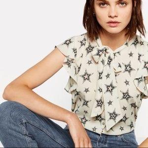 Zara Basic Cream Stars Print Tie Top - Size Medium